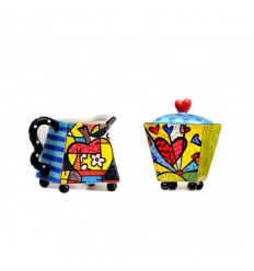 BRITTO SET milk jug and sugar bowl FLOWER