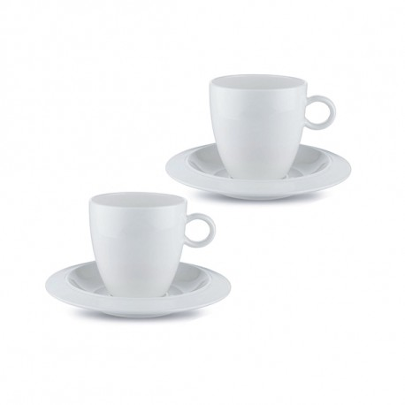 ALESSI SET OF 2 MOCHA CUPS WITH SAUCERS BAVERO