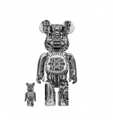 400% & 100% BEARBRICK H.R. GIGER BLACK CHROME