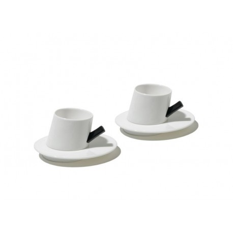 PRESTO SET OF TWO MOCHA CUPS WITH SAUCERS ALESSI Shop Online