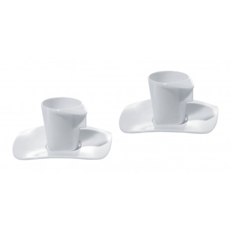 EXPRESS SET OF TWO MOCHA CUPS WITH SAUCERS ALESSI Shop Online