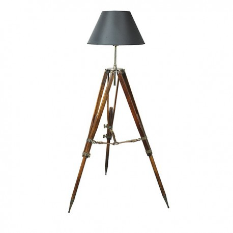 Authentic Models Campaign Tripod Floor Lamp Black Shade SL019B