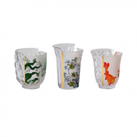 SELETTI - HYBRID AGLAURA SET OF 3 GLASSES